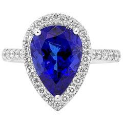 Tanzanite Diamond Single Halo Gold Ring