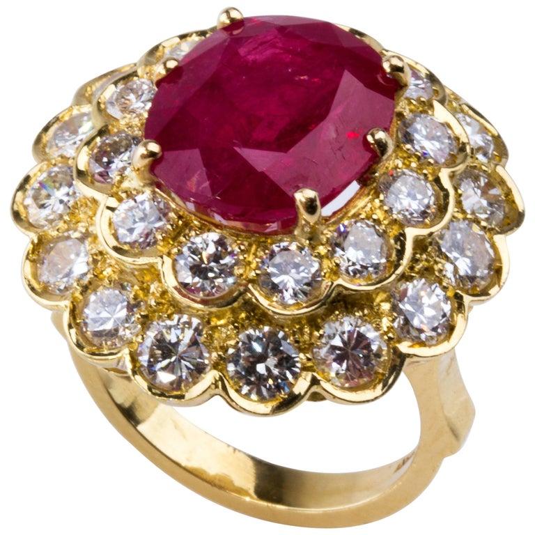 Burma Ruby and Diamond Ring