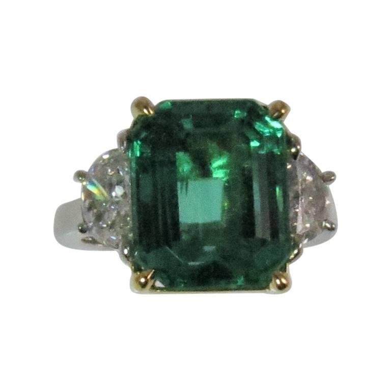 Platinum and 18 Karat Yellow Gold Emerald and Half Moon Diamond Ring