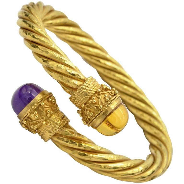 Twirled Yellow Gold Amethyst and Citrine Cuff Bracelet