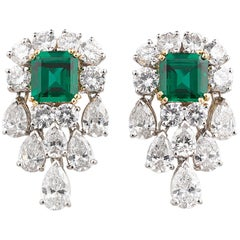 Unenhanced Emerald and Diamond Earrings