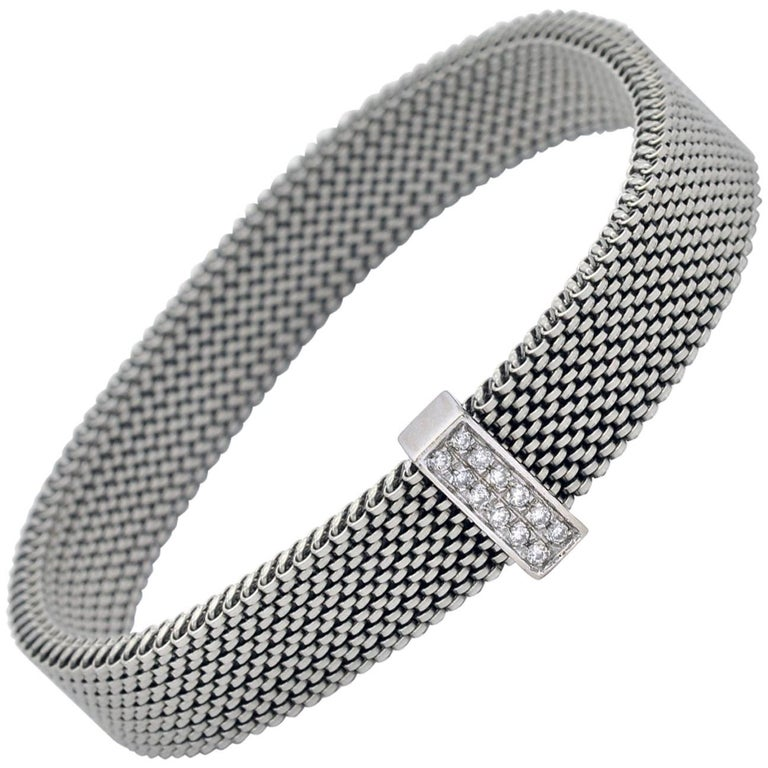 Diamond Steel and White Gold Spring Bracelet