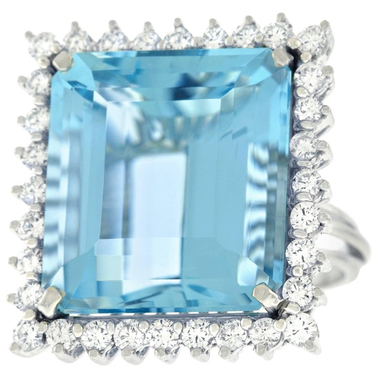 Huge Aquamarine and Diamond Ring