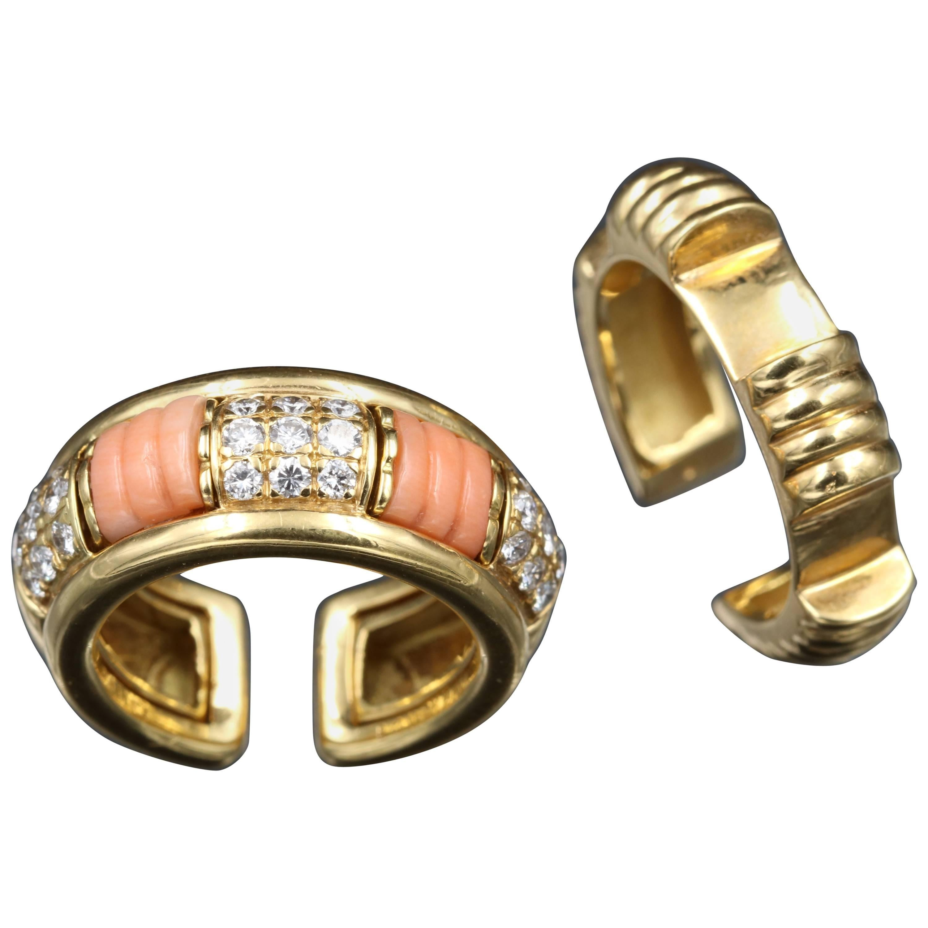 """Gold, Diamonds and Coral Boucheron """"Pluriel"""" Rings"""