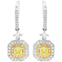 Natural Fancy Yellow Diamond Double Halo Two-Color Gold Dangling Earring