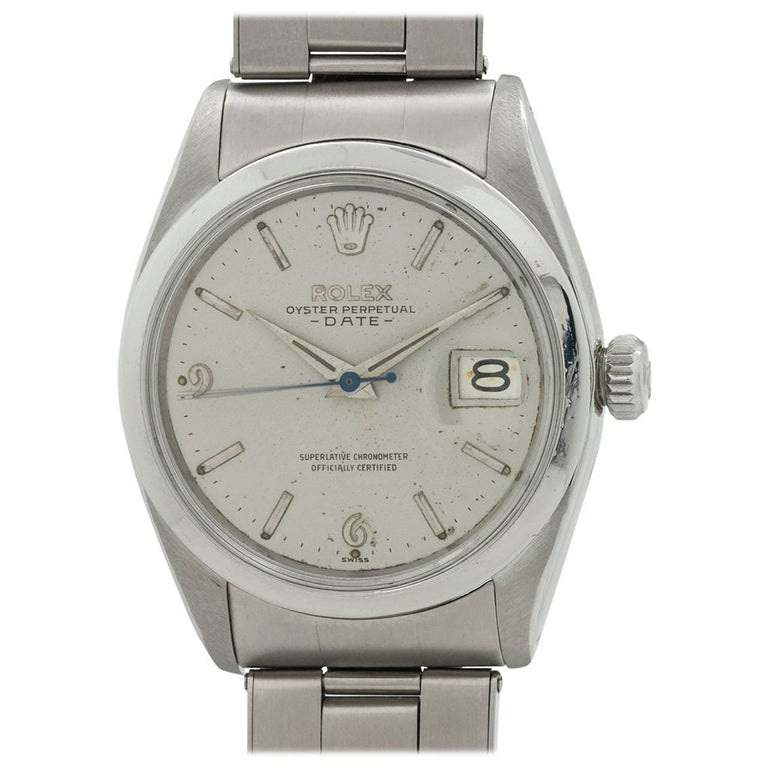 Rolex Stainless Steel Oyster Perpetual Original Dial Date Wristwatch, circa 1960