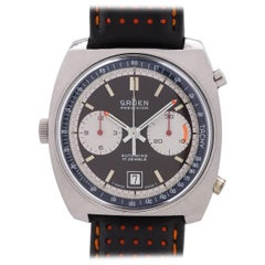 "Gruen Stainless Steel ""Autavia"" Style Automatic Chronograph Wristwatch"