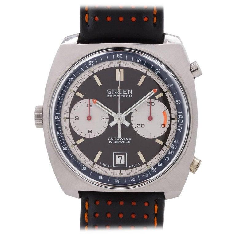 "Gruen Stainless Steel ""Autavia"" Style Automatic Chronograph Wristwatch"
