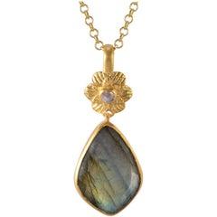Emma Chapman Labradorite Moonstone Gold Plate Pendant
