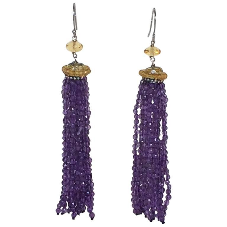 Amethyst and Citrine Bead Tassel Earrings with Diamonds and 14k White Gold Hook