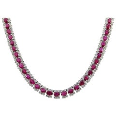 21.12 Carat in GIA Certified Burma Rubies and Diamonds White Gold Necklace