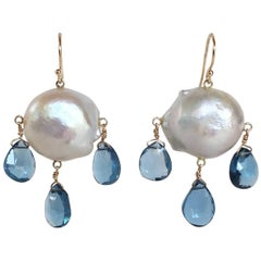 Blue Topaz Drop and Baroque Pearl Earrings