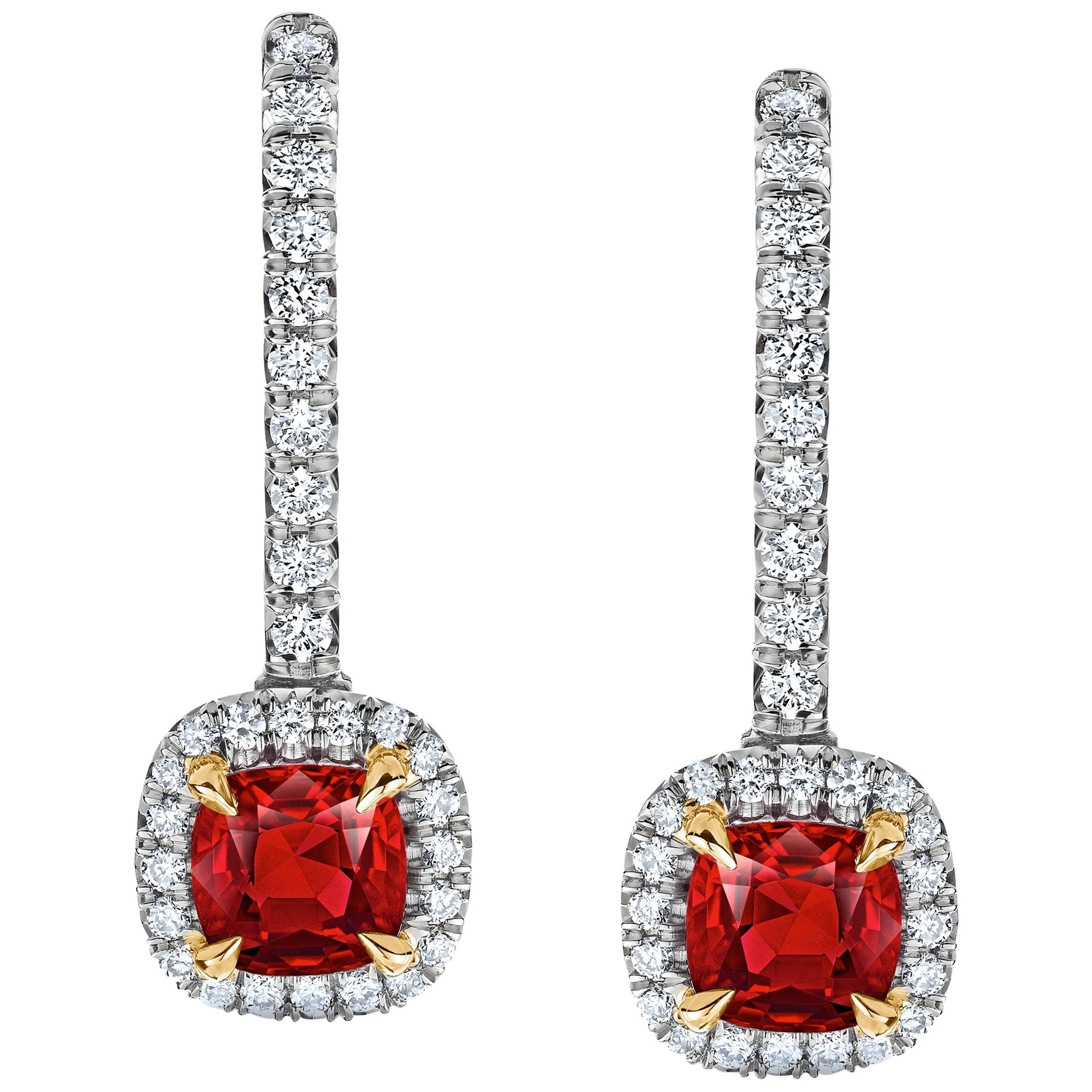 sapphire earrings item platinum padparadscha drop american diamond