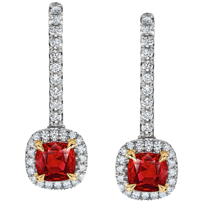 Cushion Ruby and Diamond Halo Platinum Drop Earrings