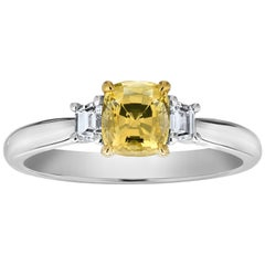 1.11 Carat Cushion Yellow Sapphire and Diamond Platinum Ring