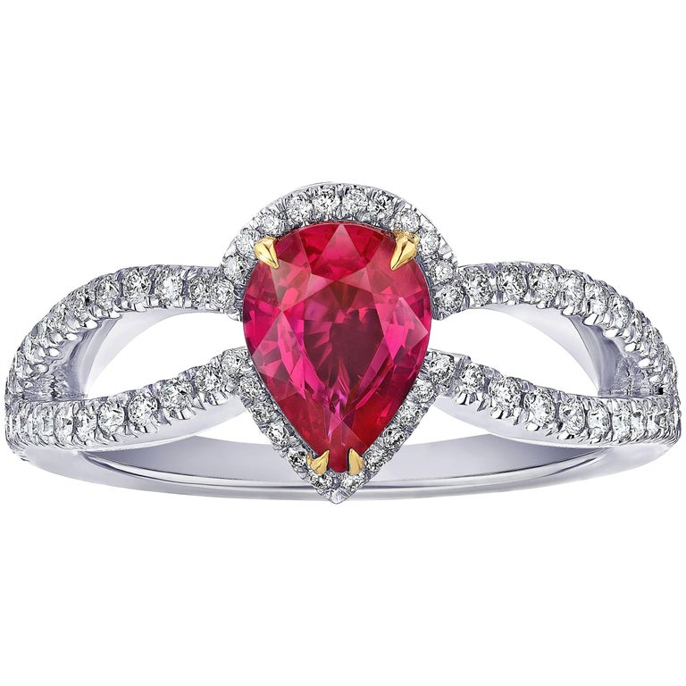 1.42 Carat Pear Shape Ruby and Diamond Platinum Ring