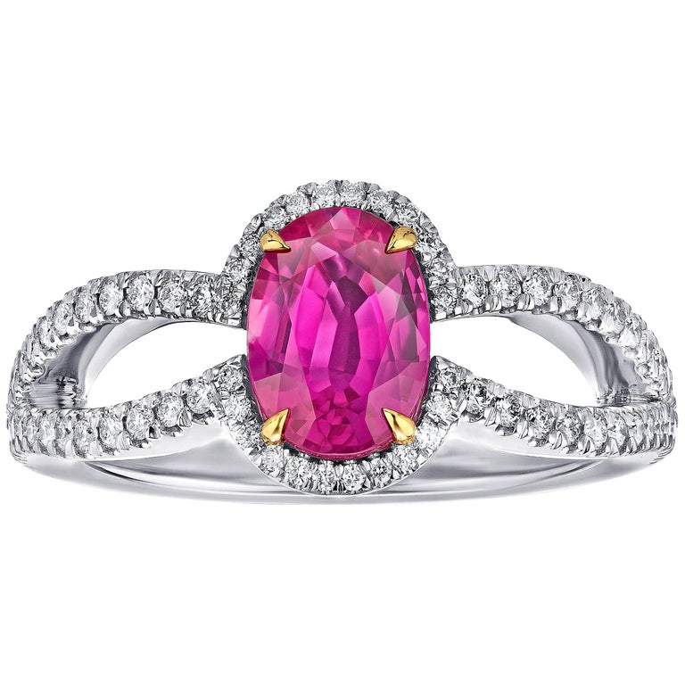 1.54 Carat Oval Ruby and Diamond Platinum Ring