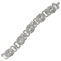 Platinum and Diamond Art Deco Style Bracelet, Approximate 7.50 Carat Diamond