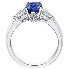 1.61 Carat Pear Shape Blue Sapphire and Diamond Platinum Ring