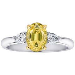 1.66 Carat Oval Yellow Sapphire and Diamond Platinum Ring