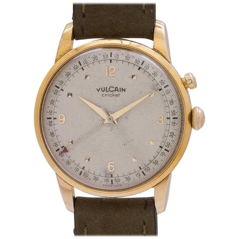 Vulcain Cricket Yellow Gold Alarm Oversized Manual Wristwatch, circa 1950s