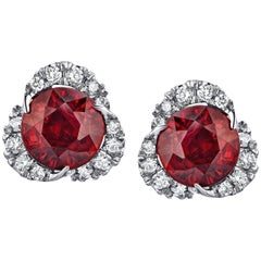 2.46 Carat Round Ruby and Diamond Halo Platinum Drop Earrings