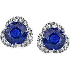 1.97 Carat Round Blue Sapphire and Diamond Halo Platinum Drop Earrings