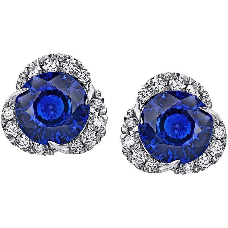 1.97 Carat Round Blue Sapphire and Diamond Halo Platinum Drop Earrings