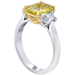 2.50 Carat Emerald Cut Yellow Sapphire and Diamond Platinum Ring