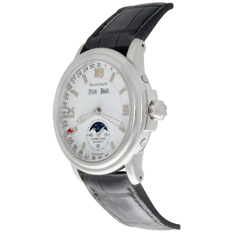 Blancpain Stainless Steel Leman Moonphase Calendar Automatic Wristwatch In Stock