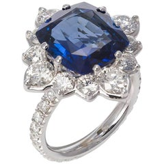 18k White Gold Diamond & Cushion Cut Ceylon Sapphire Cocktail Ring 11.55ct