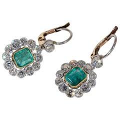 Art Deco Emerald Diamond Cluster Earrings