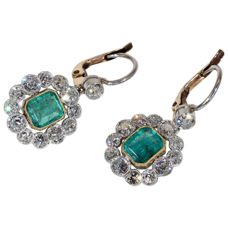 Art Deco Emerald Diamond Cluster Earrings
