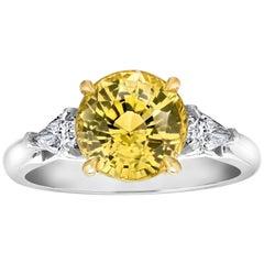 4.55 Carat Round Yellow Sapphire and Diamond Platinum Ring