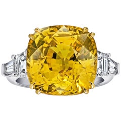19.25 Carat Cushion Yellow Sapphire and Diamond Platinum Ring