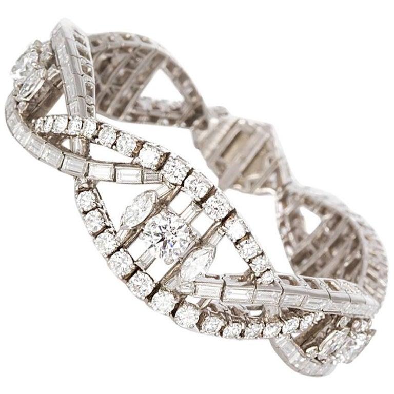 Oscar Heyman Vintage Art Deco Platinum & Diamond Ribbon Bracelet 22.00ctw For Sale