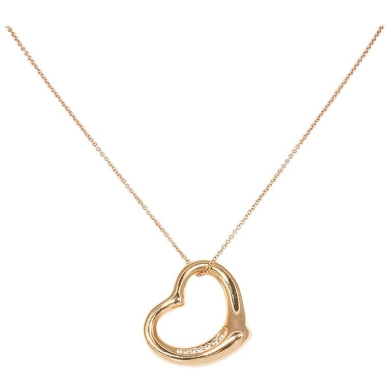 Tiffany and co elsa peretti 18k rose gold and diamond open heart elsa peretti 18k rose gold and diamond open heart pendant necklace for aloadofball Images