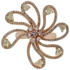 Fancy Yellow Diamond Flower Ring