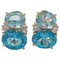 Medium Gum Drop Earrings with Two-Toned Blue Topaz Diamonds