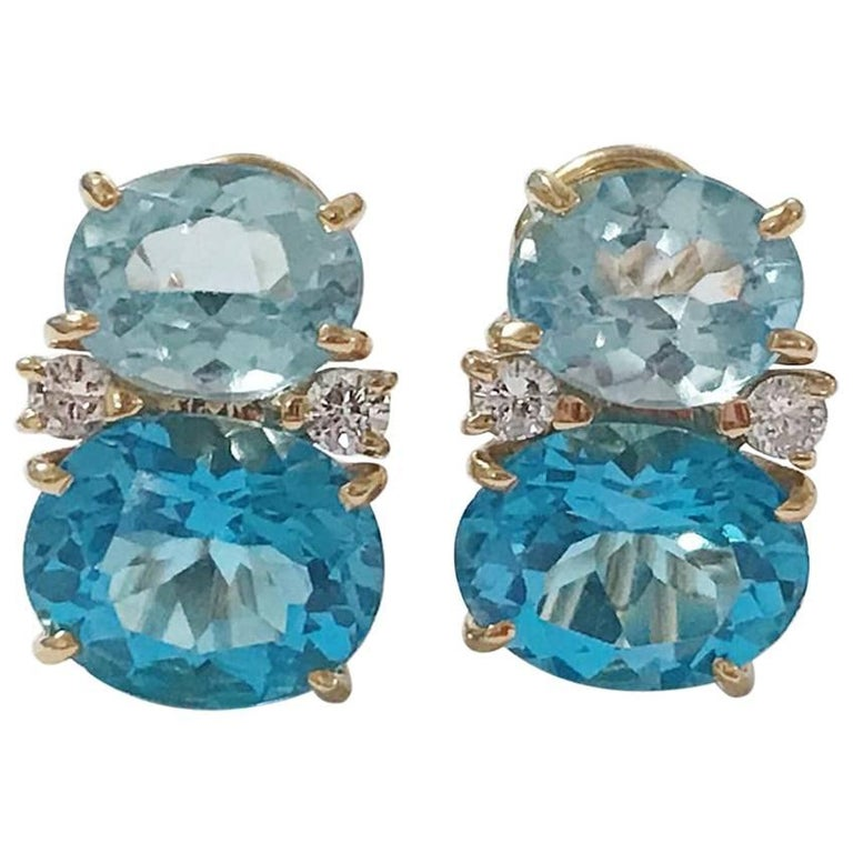 Medium Gum Drop Earrings with Two-Toned Blue Topaz Diamonds For Sale