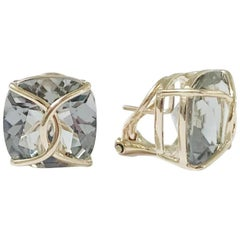 Green Amethyst Cushion Stud Earring with Yellow Gold Wire Wrap