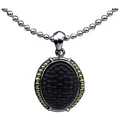 Lagos Onyx Caviar Sterling Silver and Gold Bead Chain Pendant Necklace