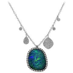 Meira T 3.55 Carat Boulder Opal and Diamond Necklace