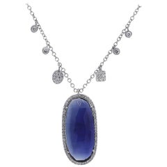 Meira T 8.95 Carat Blue Sapphire and Diamond Necklace