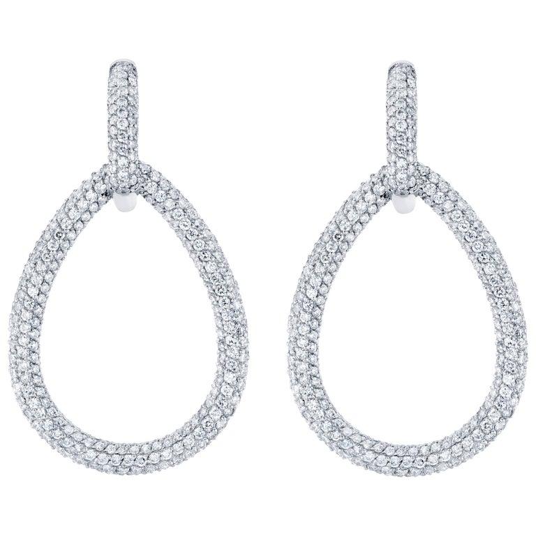 7.30 Carat Diamond Dangling Lever-Back Earrings For Sale