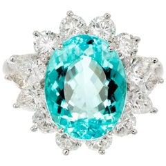 Peter Suchy 4.96 Carat Blue Paraiba Tourmaline Diamond Platinum Cocktail Ring
