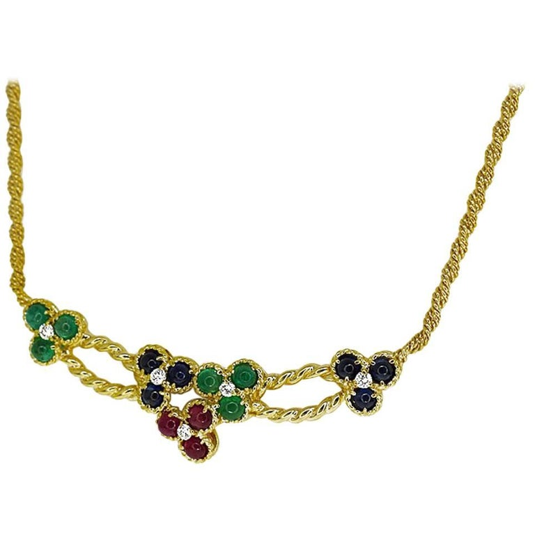 Christian Dior Ruby Sapphire 18 Karat Yellow Gold Multi-Color Stone Necklace