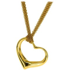 Tiffany & Co. 18 Karat Yellow Gold Open Heart Mesh Pendant Necklace