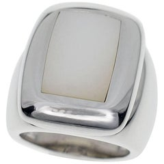 Van Cleef & Arpels Babylone Shell Ring 18 Karat White Gold EU 50