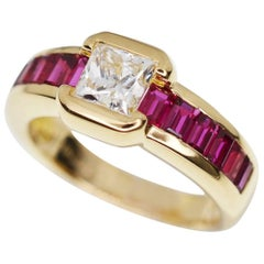 Chaumet 18 Karat Yellow Gold Diamond Ruby Ring